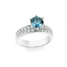 18K White Gold with White Diamond and Blue Diamond