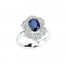 14K White Gold with White Diamonds and Blue Sapphire