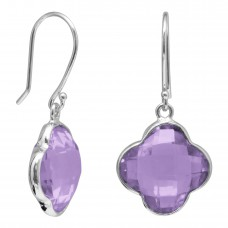Clover Shape Purple Amethyst Ear Wire 10 Cts Dangle Earrings