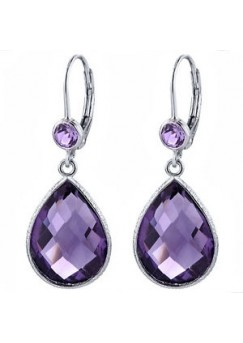 Multi Shape Purple Amethyst Lever Back 14 Cts Hammered Style Dangle Earrings