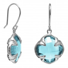 Clover Shape Blue Topaz Ear Wire 13 Cts Four Leaf Style Earrings