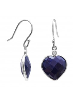 Heart Shape Blue Multistone Ear Wire 10.3 Cts Dangle Earrings