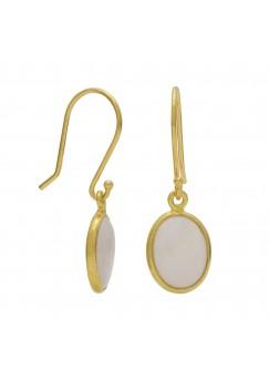 Oval Off White Opal Ear Wire 1.5 Cts Dangle Earrings