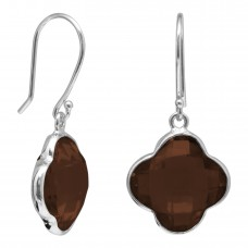 Clover Shape Brown Smokey Quartz Ear Wire 10 Cts Dangle Earrings