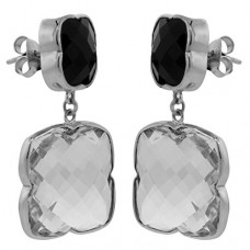 Clover Shape Black, White Multistone Push Back 48 Cts Dangle Earrings