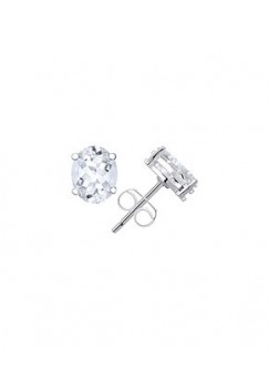 Oval Shape White Topaz 3 Cts Push Back Stud Earrings