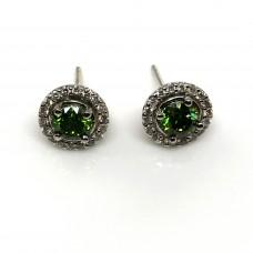 1.42 Ct Green Diamond Halo White Diamond 0.40 Ct 14K White Gold Setting Stud Pushback Earring