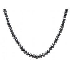 22 Cts Fine Black Solid Diamond Beads 14K White Gold Diamond Bead Necklace