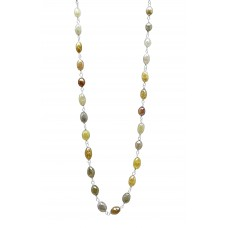 15-25 Cts Fine Colored Diamond 14K White Gold Wire Wrapped Bead Necklace