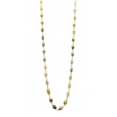 28-35 Cts Fine Colored Diamond 14K Yellow Gold Wire Wrapped Bead Necklace