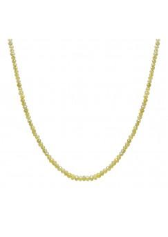 10 Cts Fine Yellow Solid Diamond Beads 14K White Gold Diamond Bead Necklace
