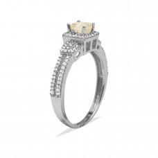 14K White Gold with White Diamond and Brown Diamond