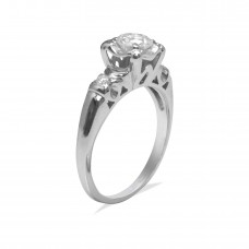 14K White Gold with Green Diamond Ring