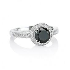 14K White Gold with Black Diamond and White Diamond